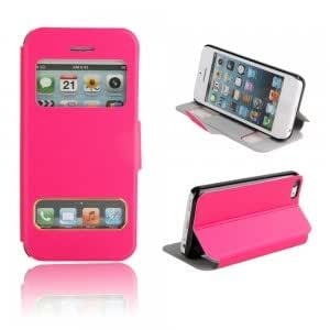 Flip Open Leather Protective PC Case w/ Stand holder for iPhone 5C Rose Red