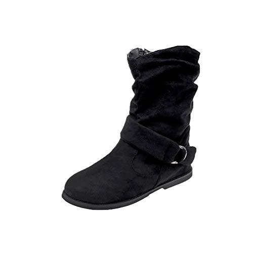 Zapatos Mujer Cabeza Redonda Botas Martin Color Sólido Botas de Caballero Otoño Invierno Moda Botas Botas de Plataforma Elegante Retro Botines Cremallera Botas Planas Negro