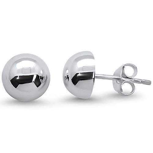 Sterling Silver Plain Half Ball Dome Stud Earrings 8mm 5863