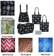 Sachi Shop Pack & Go Market Totes- 5 Piece Set- Black Medallion
