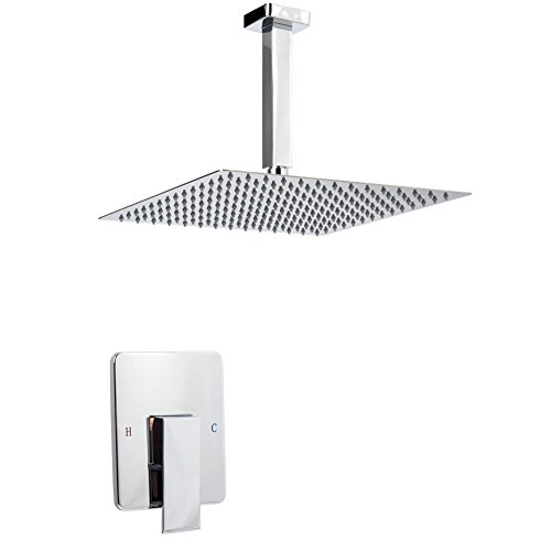 Artbath Shower Trim Kit and Rough-in Shower Valve Body, Ceiling Mounted 12 inch Rain Shower Head Set, Chrome Finished by Artbath