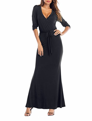 SUNNOW Womens Sexy Ladies Deep V Neck Party Dress Maxi Long Evening Dress (S, Black1)]()