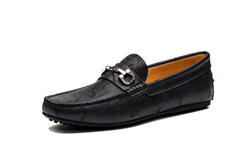 Moccassins Homme Cuir Plats Loafers Loisirs Chaussures de conduite Bleu