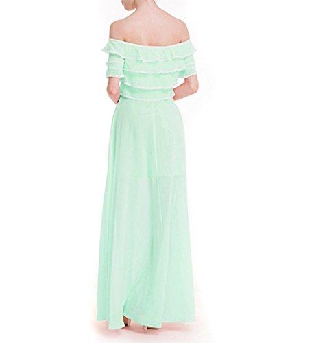 Verano Mujer Dulce De Color Sólido Sostén Cuello Delgado Se Puso Una Sección Grande Larga Vestidos Green
