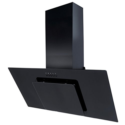 SIA AGL91BL 90cm Black Angled Glass Designer Chimney Cooker Hood Extractor