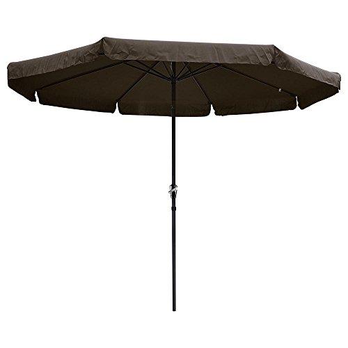 Reory Outdoor Patio Umbrella, 10 ft Aluminum Outdoor Patio Umbrella w/Valance Crank Tilt for Deck Market Yard Beach Pool Cafe Chocolate