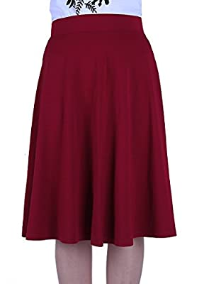 FAVELEM High Waisted Pleated Skater a Line Midi Skirts for Women with Plus Size