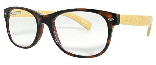 Wayfarer Type Reading Glasses Tortoise Shell Frames Bamboo Temples Strength - Wayfarer Types Of