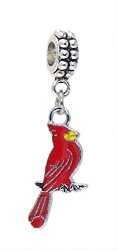 J&M Dangle Red Cardinal Bird Charm Bead for Bracelets ()