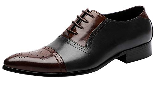 Oxford Shoes for Men Formal Leather Lace Up Brogue Cap-Toe Mens Dress Shoes Fashion Contrast Color Brown-Grey 9.5 M US ()
