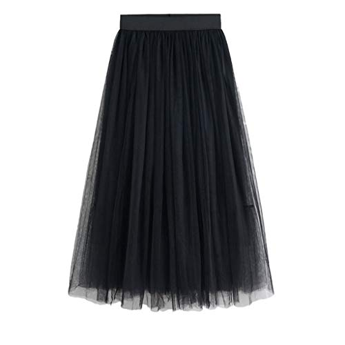 Pleats Striped Skirt - Sanyyanlsy Women's Gauze Skirt Mesh Layed Elastic Empire Pleat Skater Ball Gown Long Shirt Fashion Daily Prom Party