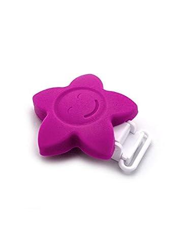 RUBY - 1 Pinzas de Silicona Clips Estrella Pinzas de Chupete para Niños Bebés. ENVÍOS Desde ESPAÑA (Amarillo)