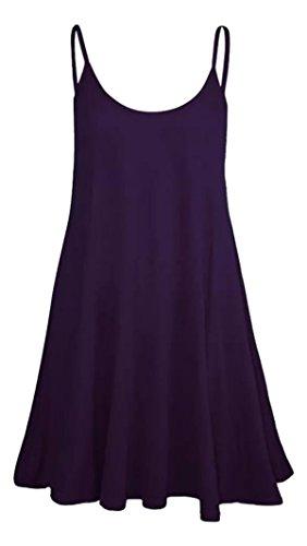 Plaine Violet Sans Evases Manches Robe Femmes Volants Bretelles BxAdqTnRw
