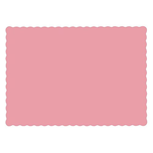 Hoffmaster 975-NMD25 Solid Dusty Rose Color Recycled Placemat 9 3/4 x13 1/2 inch, Scallop Die Cut - 1000 per ()