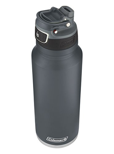 Coleman FreeFlow AUTOSEAL Insulated Stainless Steel Water Bottle, Slate, 40 oz. (Bottle Slate)
