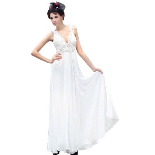 Aermellos V Damen Kreuz Abendkleider und Empire Weiß Bodenlang Quer Kleidungen Traeger Dearta Ausschnitt Chiffon xXfq6FX