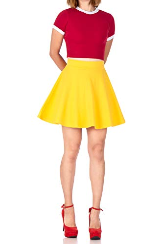 Basic Solid Stretchy Cotton High Waist A-line Flared Skater Mini Skirt (S, Yellow)