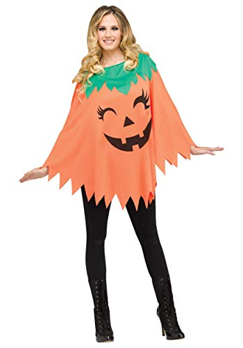 Pumpkin Poncho for Halloween, School Acting, Costume Party, for Women Adult Size (1