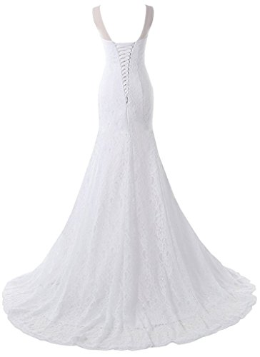 Pretygirl Women's Lace Wedding Dress V Neck Bridal Gown Long Evening Dress (US 2, Ivory)