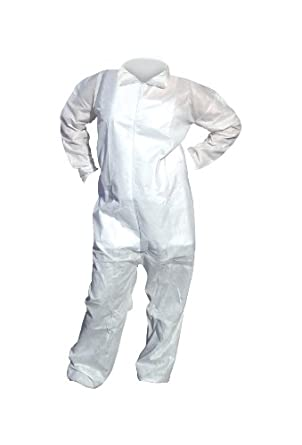 High Five AC204 SMS Polypropylene Opaque Heavy Duty Coverall with Elastic Wrists and Ankles, X-Large, White (Case of 25)
