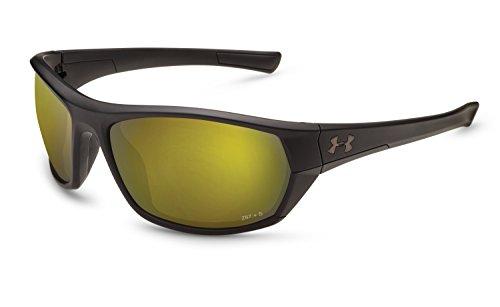 Under Armour UA Powerbrake Polarized Wrap Sunglasses, UA Powerbrake Satin Black / Black / Shoreline Polarized, 61 - Sunglasses See The Water In Fish To