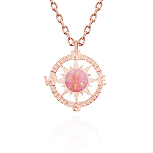 "MUSTHAVE Compass 14K Rose Gold Plated Opal Necklace, 14K Rose Gold Plated & Anchor Chain, White/Green/Pink Opal Necklace, Size 16""+2"" Extender (Rose Gold)"