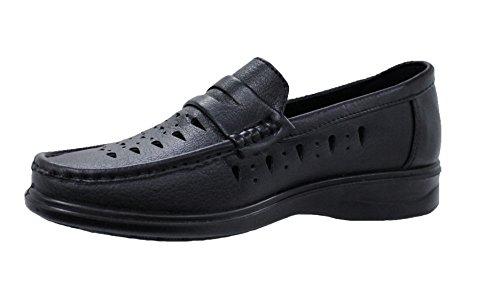 Eleganti mocassini uomo nero ecopelle scarpe slip on man's shoes traspiranti