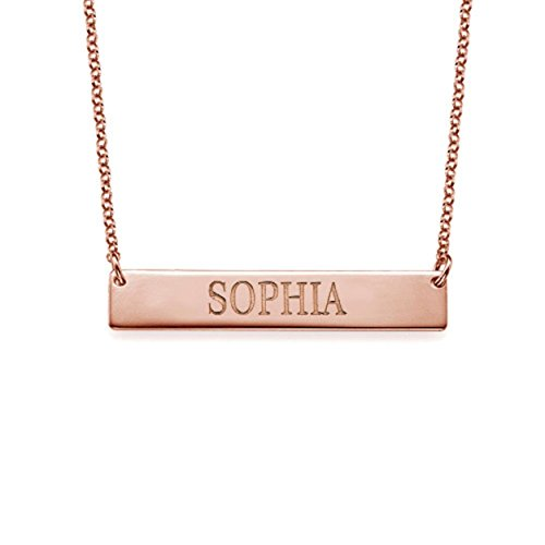 Bar Necklace Engraved Personalized Name Necklace All Capitol Letters -Rose Gold Custom