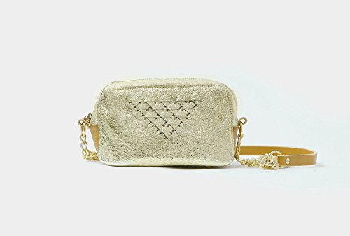 MEGAN gold metallic leather cross-body purse with gold hardware - Metallic Hardware