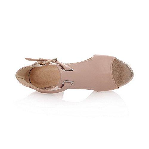 VogueZone009 offener High Schnürschuh Sandalen Zehe mit Damen Pink Heels Solide Pu 4Wrxf4