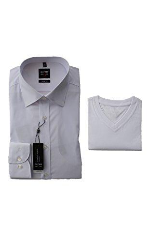 OLYMP Hemd, Weiß Body Fit Level Five inklusive V-Ausschnitt T-Shirt