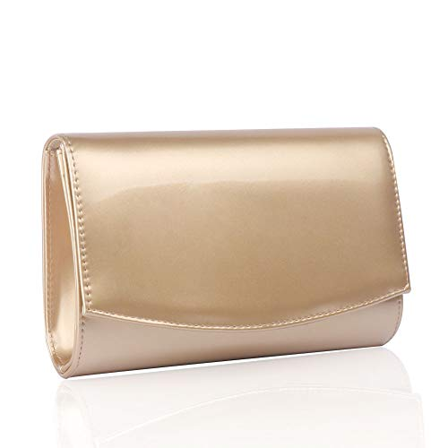 Women Patent Leather Wallets Fashion Clutch Purses,WALLYN'S Evening Bag Handbag Solid Color (Gold) Clutch Gold Leather Handbags