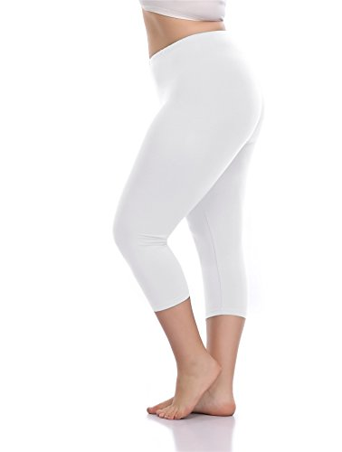 VOGUEMAX Women's Capri Leggings Plus Size Stretch and Comfy High Waisted Three-Quarter Leggings Plus -
