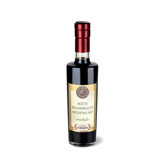 Balsamic Vinegar of Modena IGP - Aceto Balsamico Invecchiato Ferrarini IGP - Old Barrel Balsamic Vinegar from Italy - Botti Antiche 8.45 (250 ml) Oz 1 PLENTY OF HEALTH BENEFITS Full of Anti-Oxidants and Minerals, Low Calories. Perfect complement for your diet, use it as a low-fat additive and part of a heart-healthy diet. Paleo, Atkins, South Beach, Whole 30, and more. Vegan, Vegetarian, No sulfites. It helps lower cholesterol, It aids in healthy digestion, It supports weight loss, It's diabetes-friendly, It improves blood circulation, It may help with hypertension, It can improve your skin. Just a few drops of this black gold produce an enveloping aroma and a taste that is sweet and sour in equal measures. This makes an ideal addition to salads, raw vegetables and grilled meat. Thhis amazing product has been aged; It means the product has undergone an ageing period of three years or more.