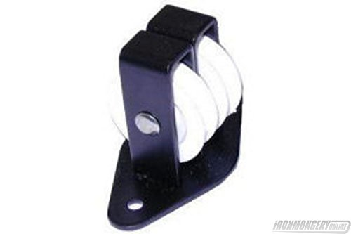 38mm Double Nylon Wheel Across the Plate Cast Upright Pulley - Black by Perry (Pulley Cast)