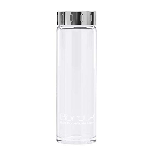 Boroux Glass Water Bottle 500ml Handmade BPA Free Pure Borosilicate Glass ()