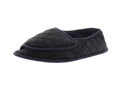 - Coralee Womens Adjustable Slipper Edema,Memory Foam Orthopedic Slippers for Women,Open Toe House Shoes Black L 9 US