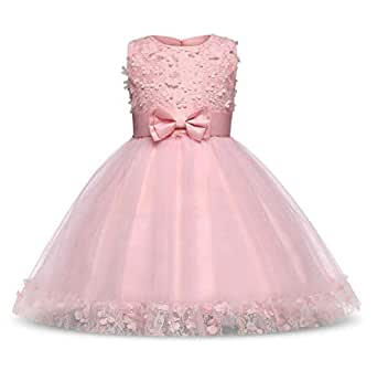 Kids Girls Sleeveless Bow-Knot Tulle Lace Formal Prom Gown Dress