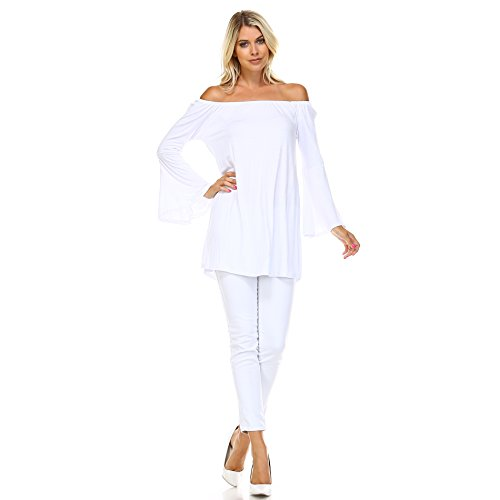 Isaac Liev Bell Sleeve Peasant Top (X-Large, White) (Sexy Peasant Tops)