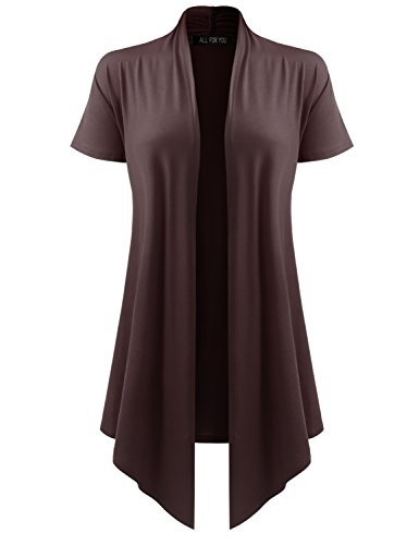 - All for You Women's Soft Drape Cardigan Short Sleeve Brown Small