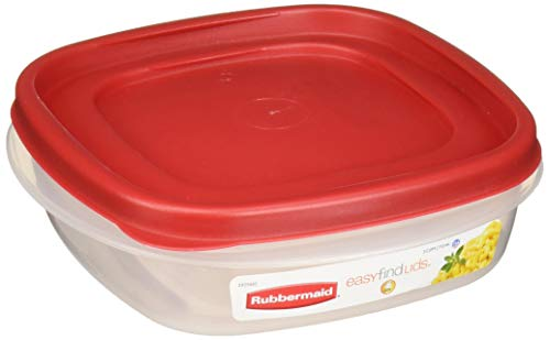 (Rubbermaid 608866902584 Easy Find Lids Square 3-Cup Food Storage Container (Pack of 4), Clear)
