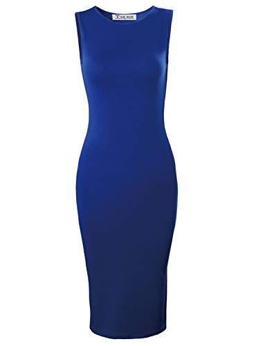 TAM WARE Women's Classic Slim Fit Sleeveless Midi Dress TWCWD051-BLUE-US S/M(Tag Size ()