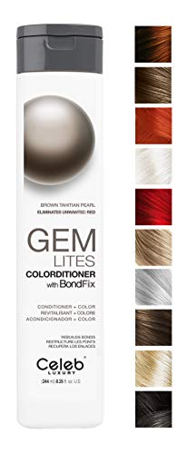 Celeb Luxury Gem Lites Colorditioner: Brown Tahitian Pearl Hair Color Depositing Conditioner, BondFix Bond Rebuilder, Brassy Red Eliminator, 10 Colors, Stops Fade, Cruelty-Free, 100% Vegan