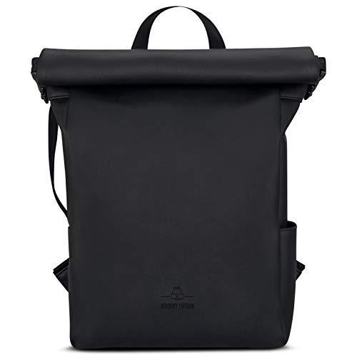 Roll Top Backpack Black Women & Men JOHNNY URBAN Rolltop Daypack of Vegan Leather