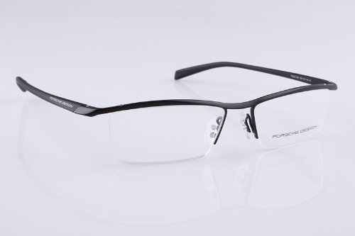 e7c6eecff0f Amazon.com  Porsche Design P8189 Black Titanium and TR-90 Memory Plastic  Half Rim Glasses Frame  Health   Personal Care