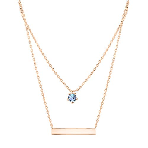 Swarovski Necklace Plated Gold - PAVOI 14K Rose Gold Plated Swarovski Crystal Birthstone Bar Necklace Pendant Engraveable December