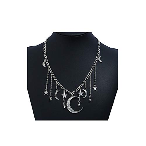 Fashion Pendant Plated Silver (JczR.Y Fashion Crystal Star Moon Crescent Tassel Pendant Necklaces Bohemia Silver Plated Horn Shape Necklace Choker for Women Girls Party Jewelry Accessories)