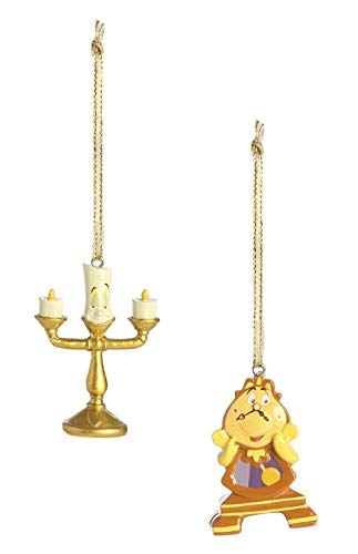 Disney Christmas Decorations Lumiere Chip Cogsworth Hanging Ornaments Set of 3