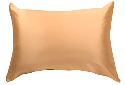 100% Silk Pillowcase for Hair Zippered Luxury 25 Momme Mulberry Silk Charmeuse Silk on Both Sides of Cover -Gift Wrapped- (Standard, Gold)