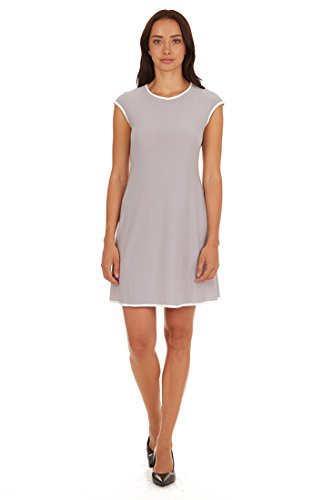 Tiana B. Women's Cap-Sleeve A-Line Dress with Contrasting Piping Silver